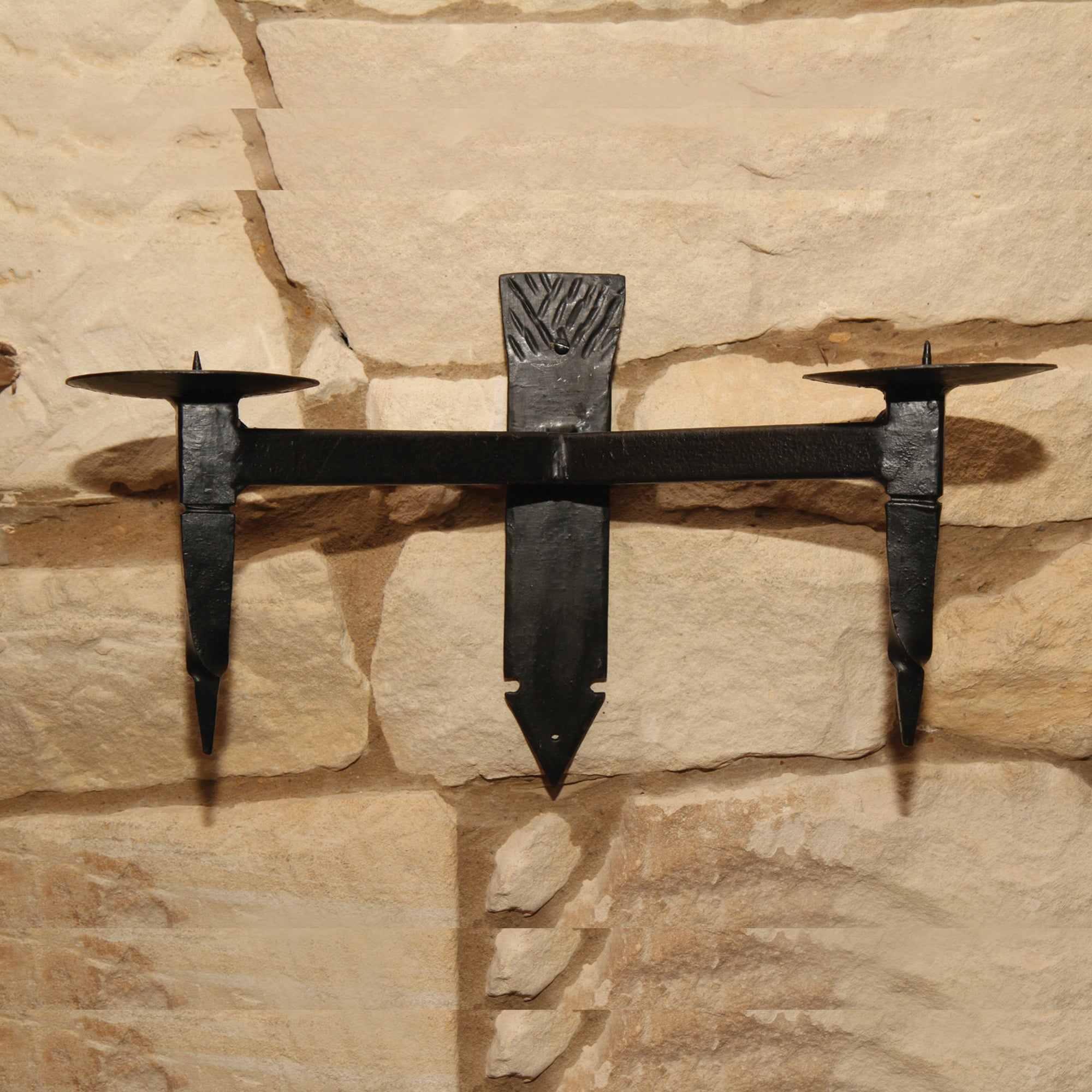Handforged Wall Candle Holder - York Double