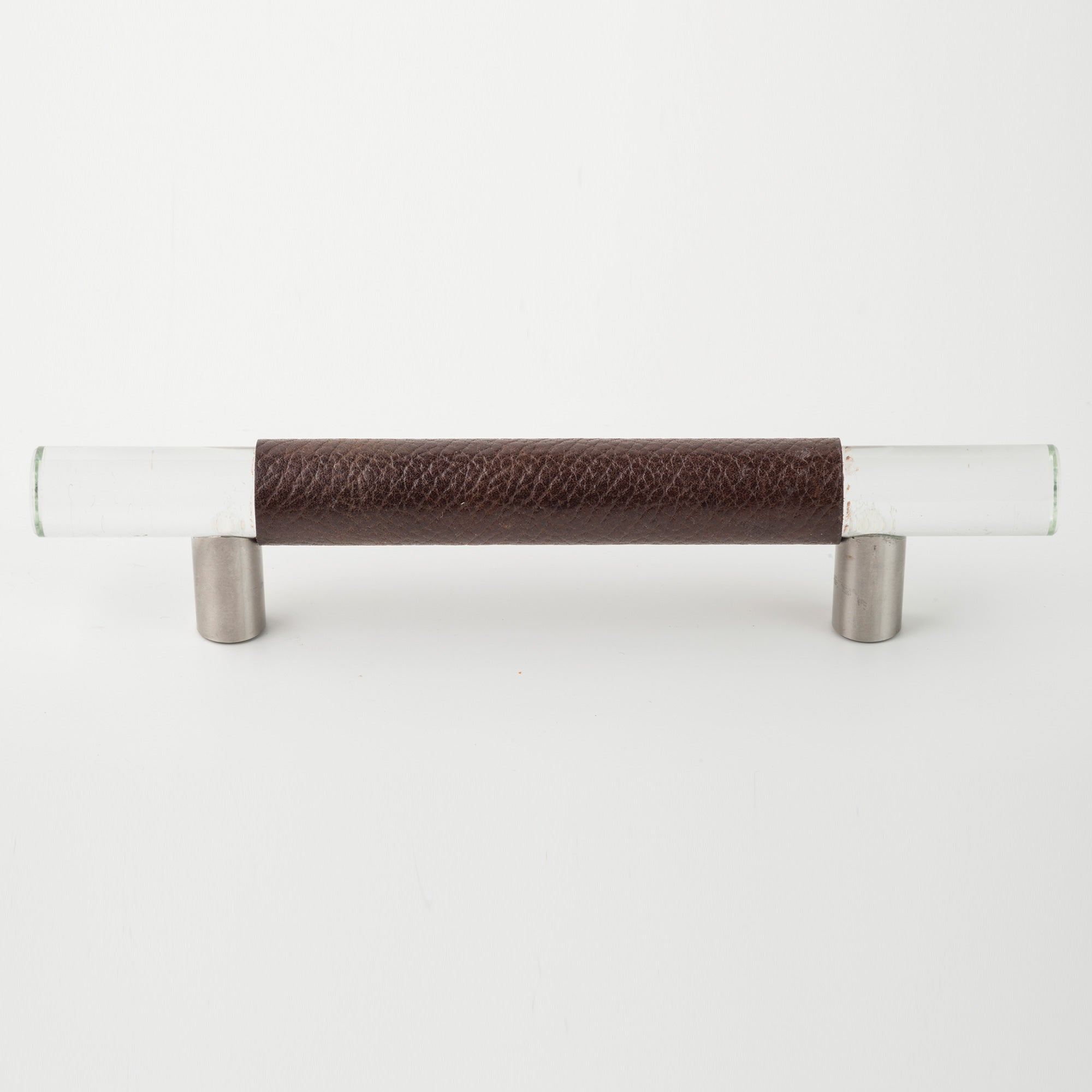 Leather and Clear Glass Bar Handle