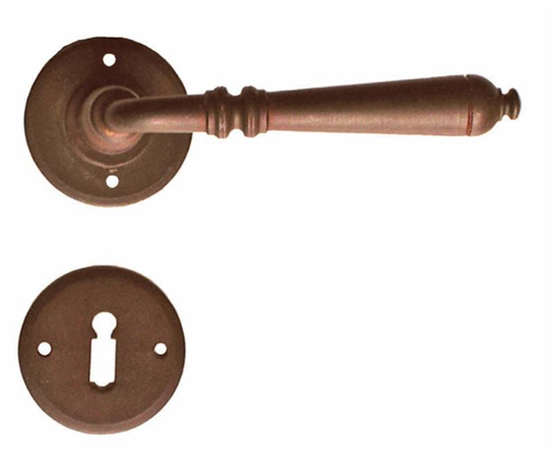 63-024 Ferramenta Lever on Rose EURO profile cylinder Antique Rust