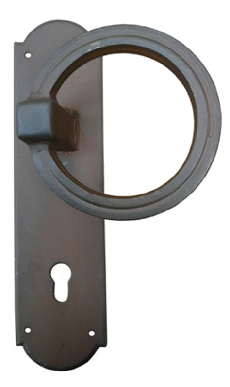 Ferramenta 63-160 Fixed Right Ring Door Pull on Lock Plate Antique Grey Iron