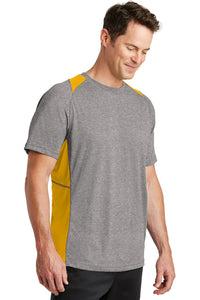 Sport-Tek Heather Colorblock Contender Tee Vintage Heather/Gold