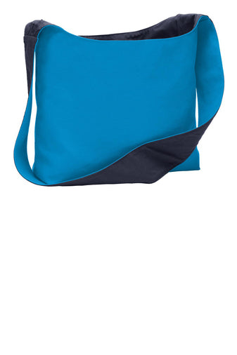 Port Authority Cotton Canvas Sling Bag Turquoise and Navy