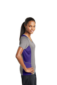 Sport-Tek Ladies Heather Colorblock V-Neck Tee Varsity Heather/Purple