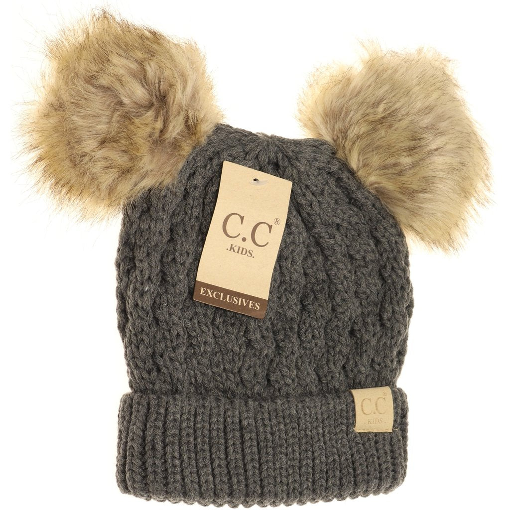 KIDS Cable Knit Double Fur Pom Beanie