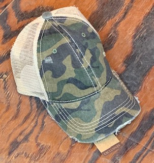 Camouflage Mesh Back High Pony CC Ball Cap #2 Olive
