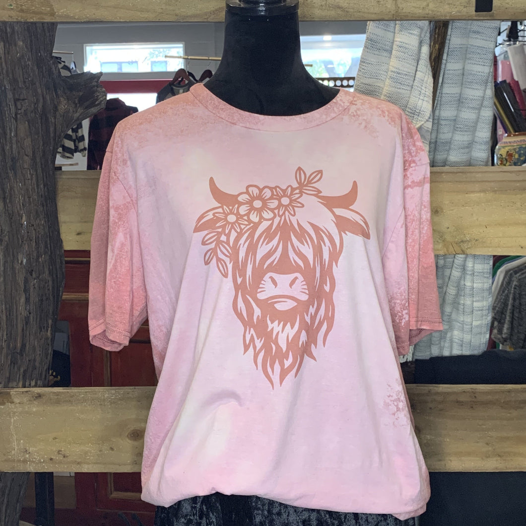 Highland Cow Bleach Tee