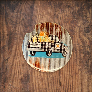 Farm Fresh Pumpkin Truck Rustic Car Coaster