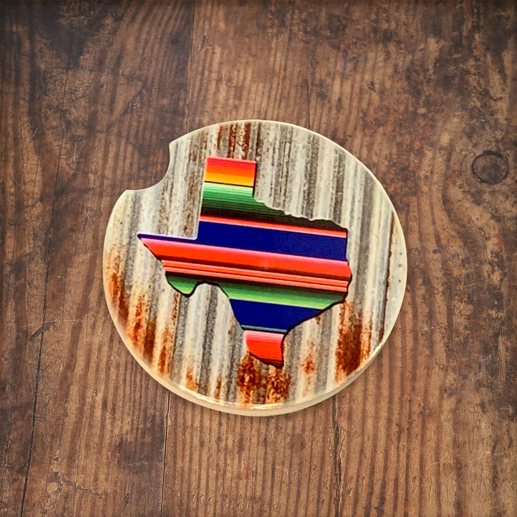 Serape Texas Rustic Car Coaster