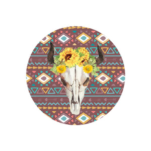 Sunflower Buffalo Skull Car Coaster