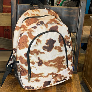 Cow Print Canvas School Backpack