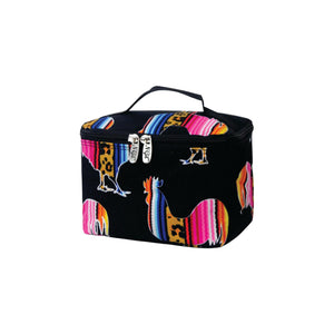 Top Handle Cosmetic Case - Leopard Serape Rooster