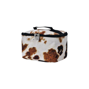 Top Handle Cosmetic Case - Cow Print