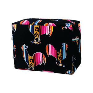 Large Cosmetic Case Travel Pouch - Leopard Serape Rooster