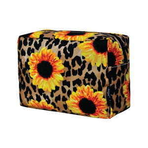 Large Cosmetic Case Travel Pouch - Leopard Sunflower