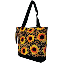 Load image into Gallery viewer, Canvas Tote Bag - Leopard Sunflower