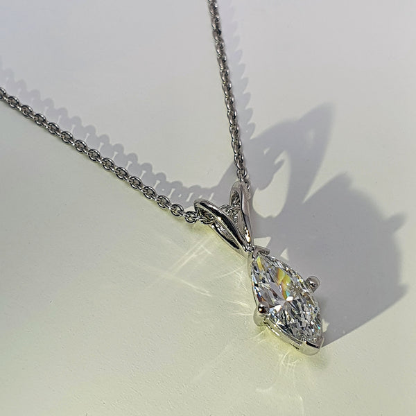 Gaudi Solitaire CZ Silver Necklace