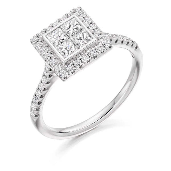 Diamond Invisible-set Princess Cluster Ring