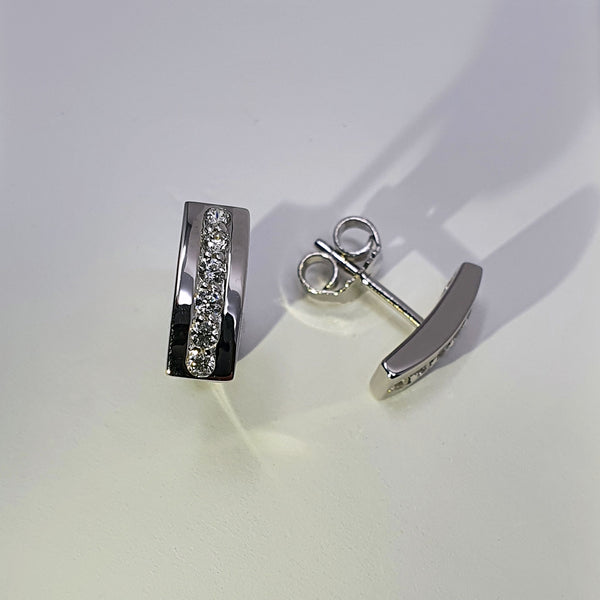 Alicia Mai Gaudi CZ Silver Earrings