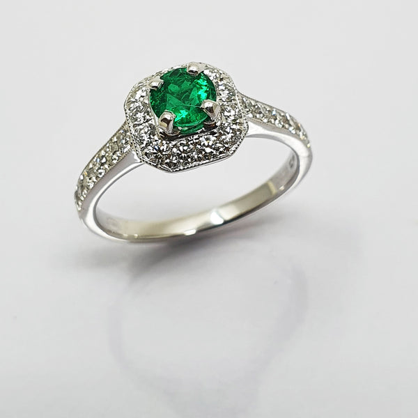 Emerald and Diamond Cushion Cluster Ring