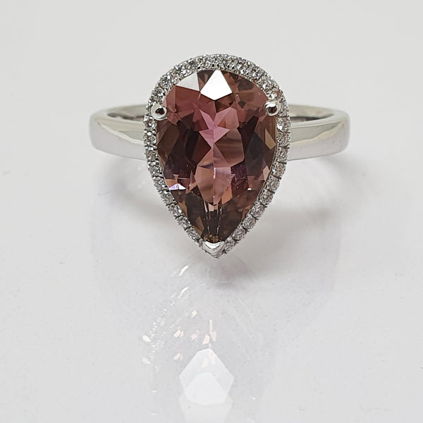 Tourmaline and Diamond Halo Cluster Ring