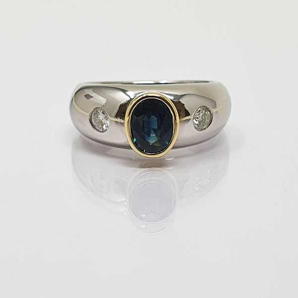 Sapphire and Diamond Hand-made Ring