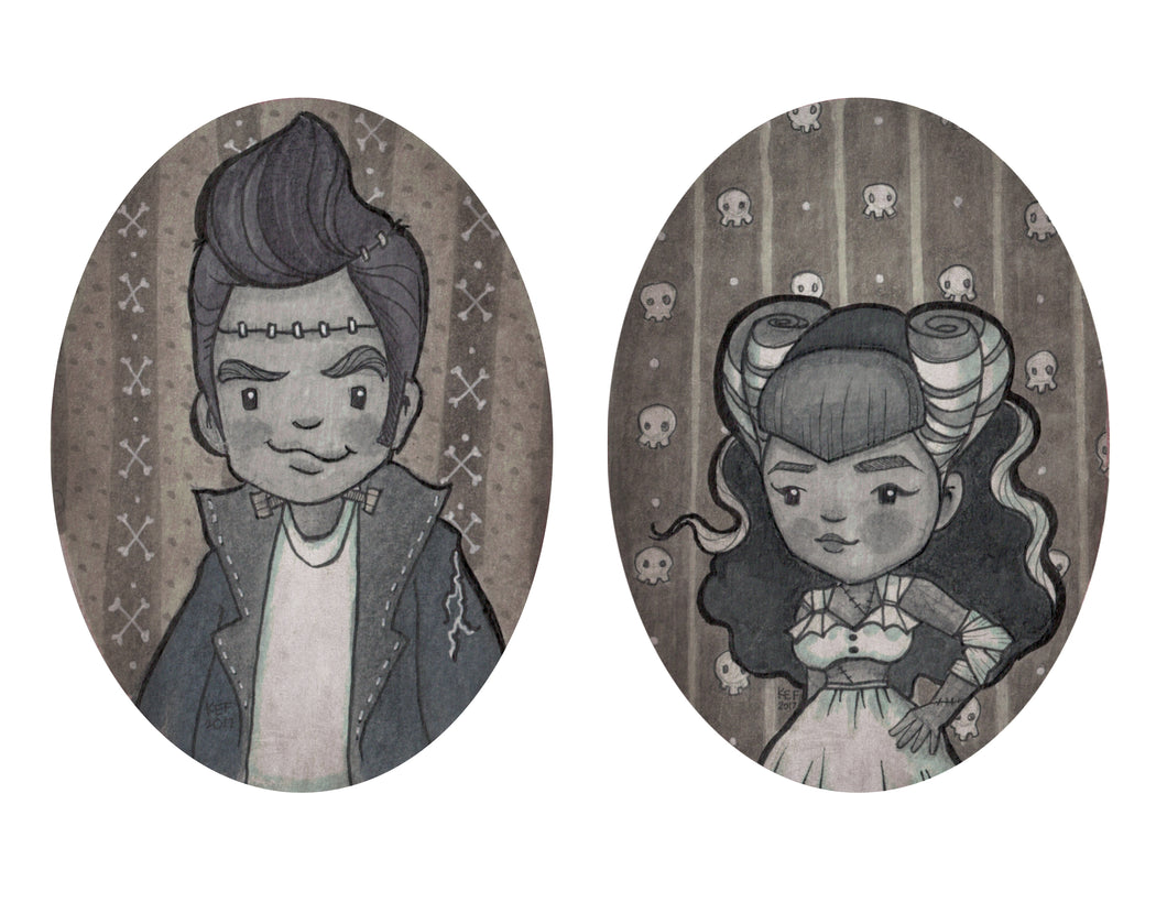 Rockabilly Frankenstein and Bride 2-Pack Prints