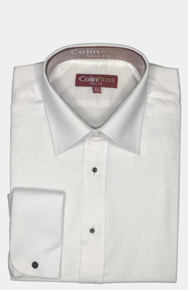 WHITE TAILORED FIT, STUD FRONT DRESS SHIRT