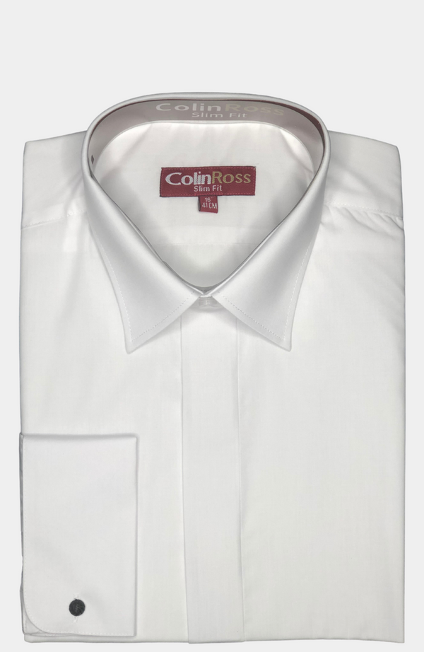 WHITE TAILORED FIT DRESS SHIRT