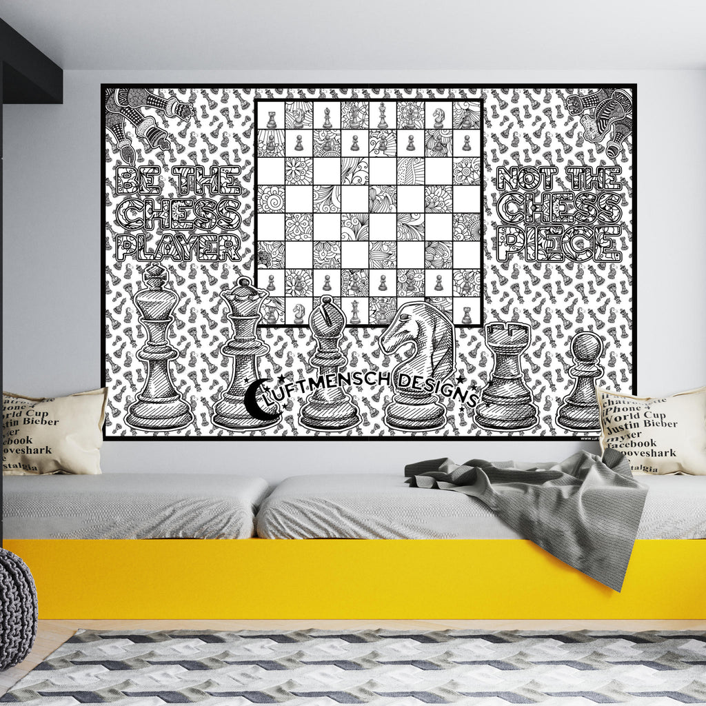 Giant chess coloring poster, gift for chess players