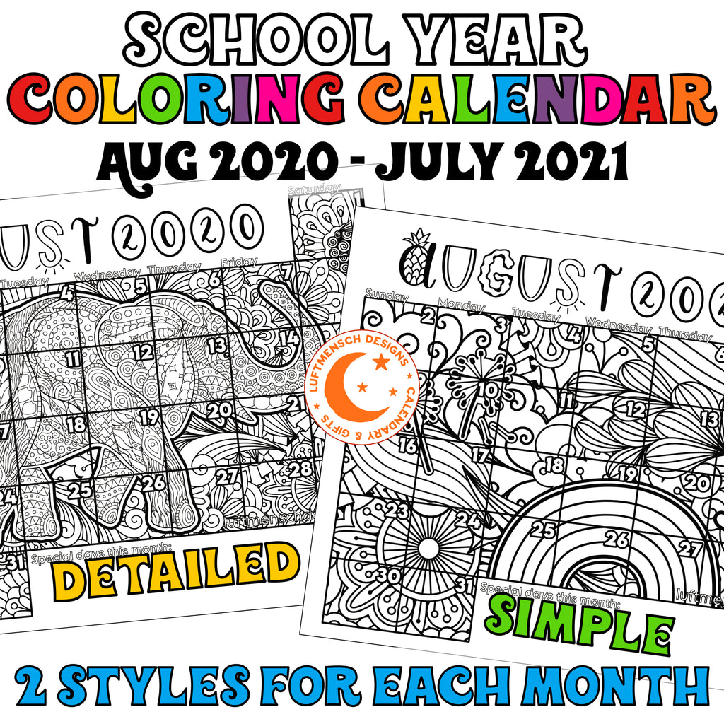 Printable coloring calendar for students classroom printable