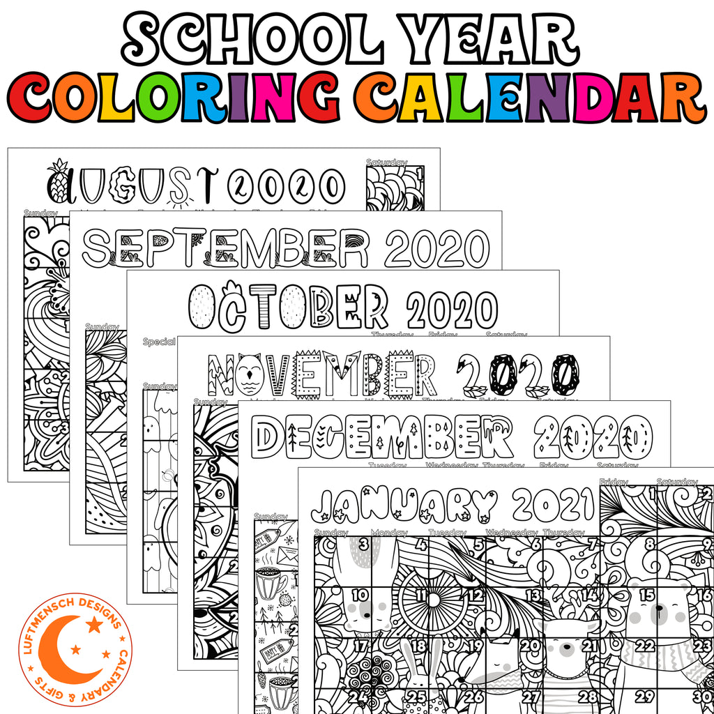 School calendar printable coloring pages