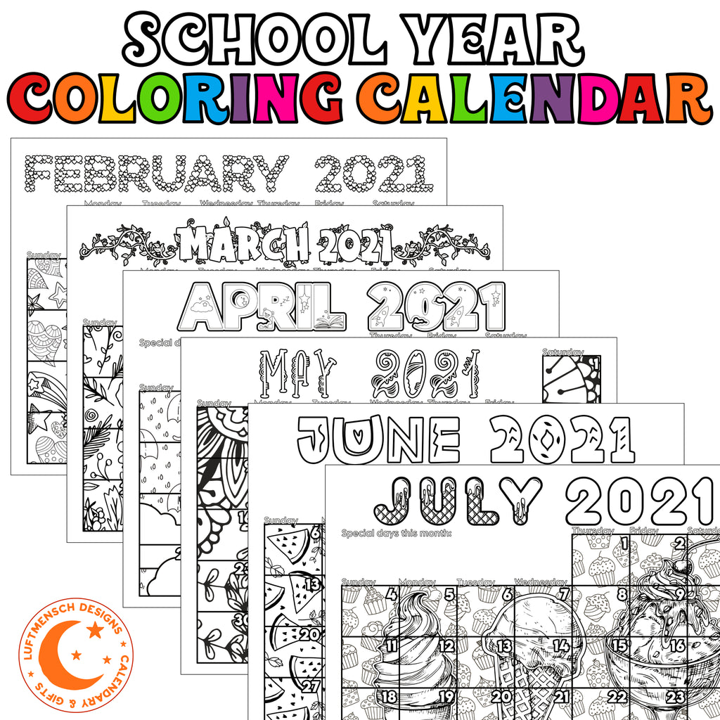 Colroing calendar for kids