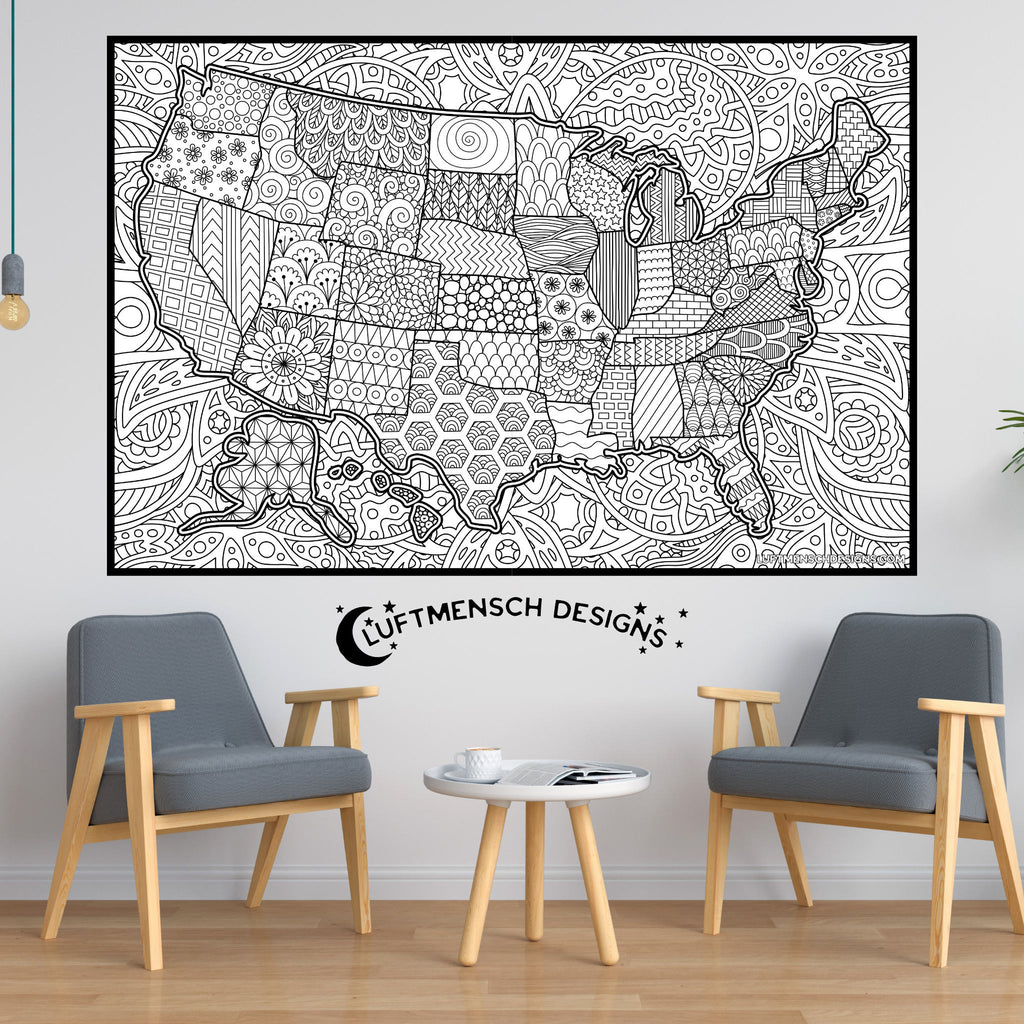 US Map Coloring Poster