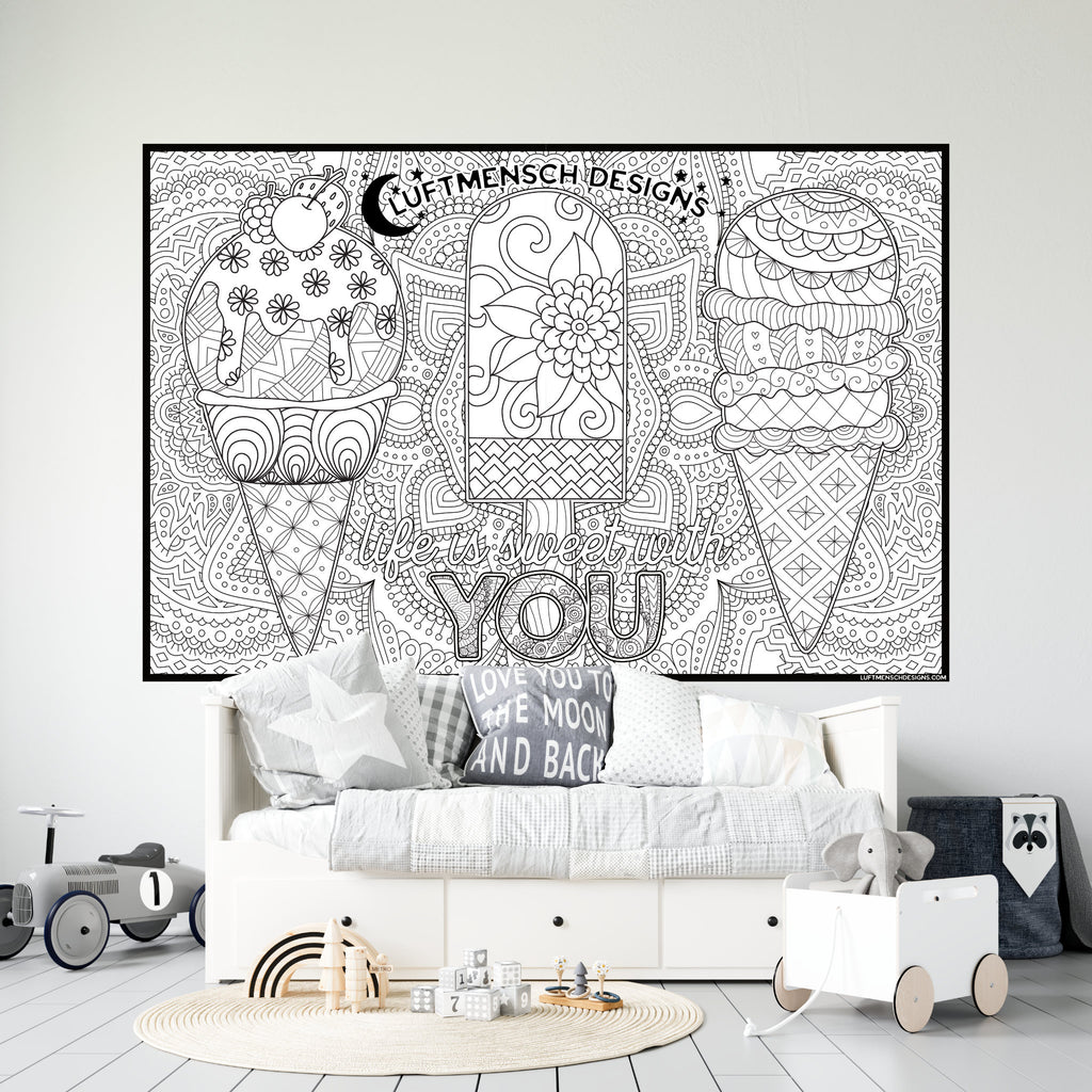 Ice Cream Coloring Poster