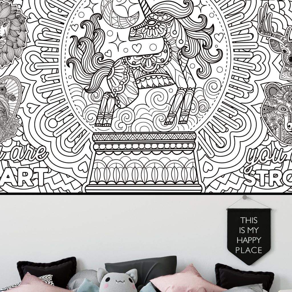 Motivational Unicorn Coloring Poster