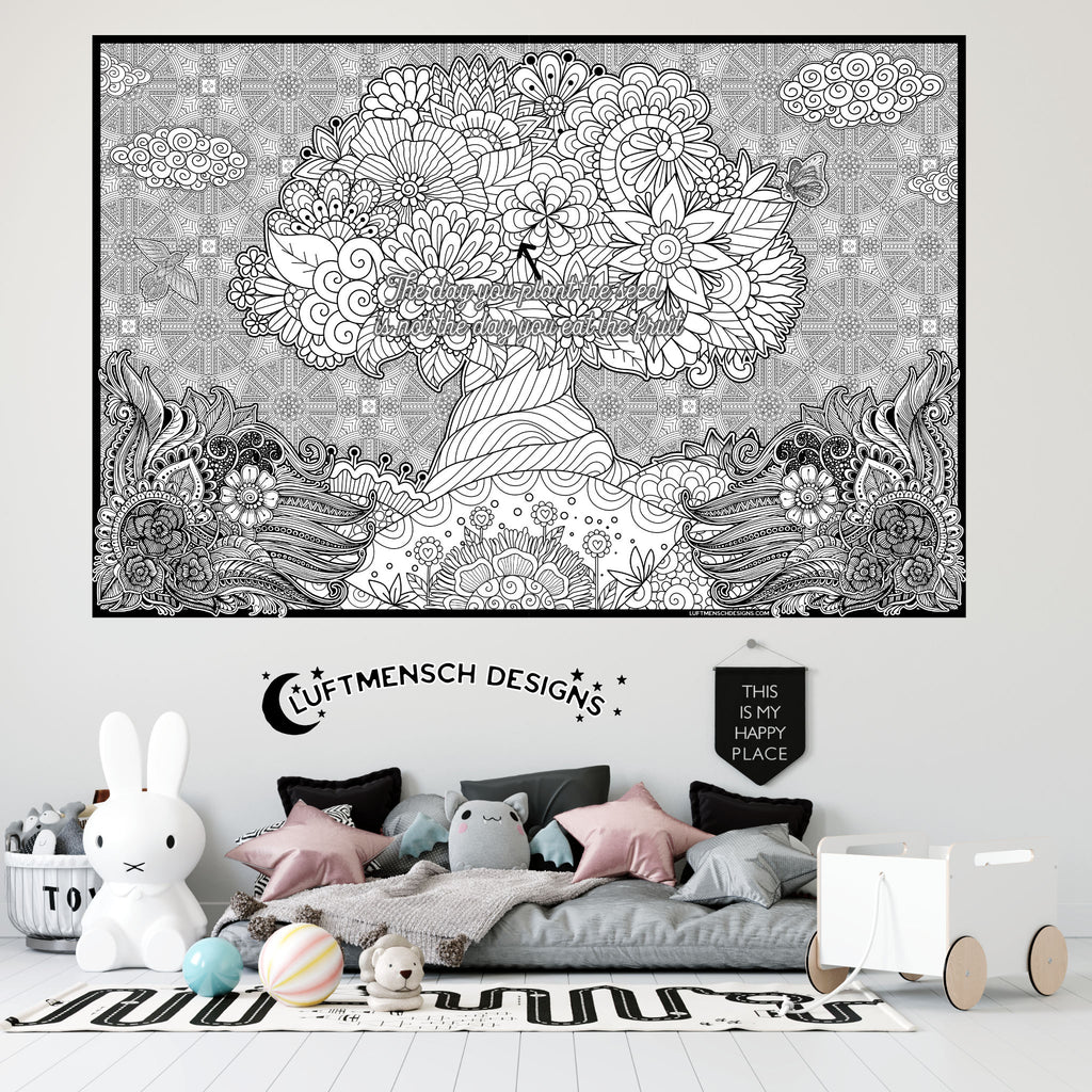 Inspirational Tree coloring poster