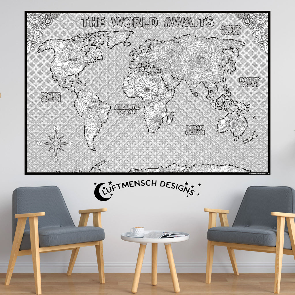 World Map Coloring Poster Sheet