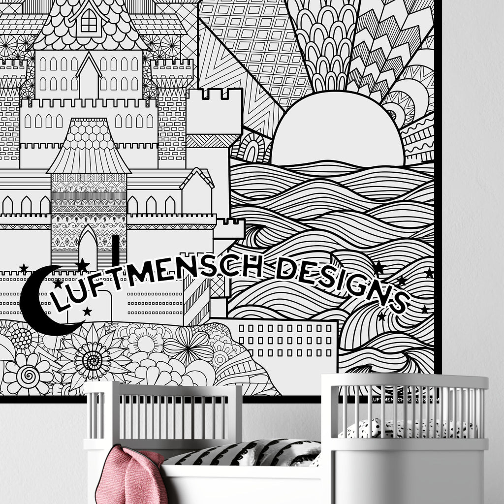 Huge Coloring Poster Castle Fantasy