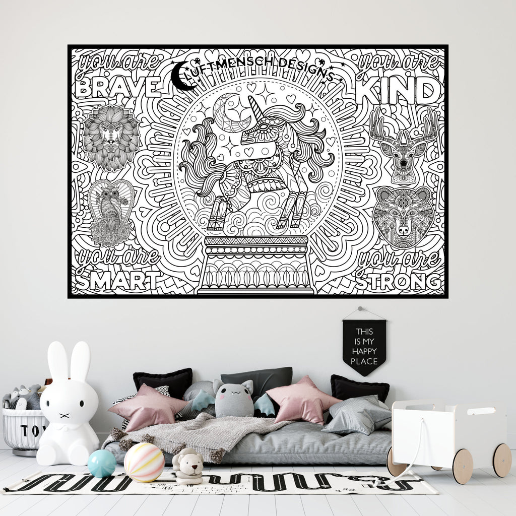 Unicorn Coloring Poster