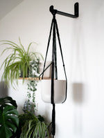 Knttd handmade black macrame  plant hanger in sustainable  handmade recycled cotton. Home decor for house plants
