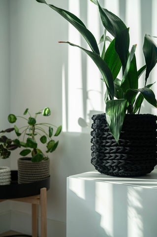 Black handmade eco plant pot made from sustainable recycled cotton