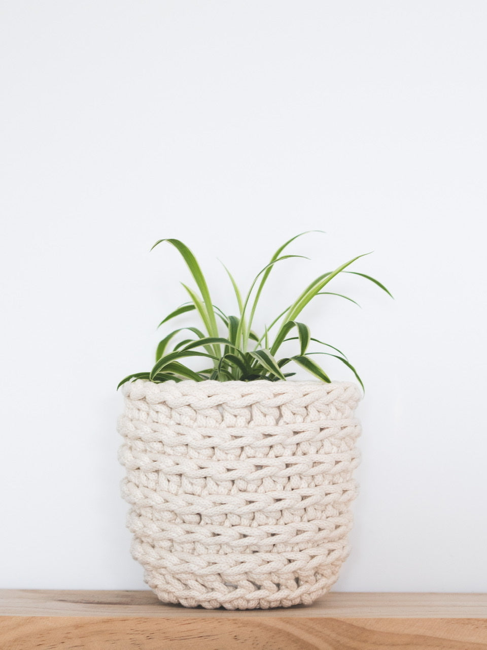 Small eco plant pot - natural - Knttd coloured handmade plant pot cover made from recycled cotton yarn with watertight inner pot made from recycled plastic