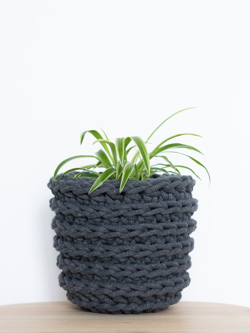 Small crochet cotton sustainable eco plant pot - charcoal grey | Knttd