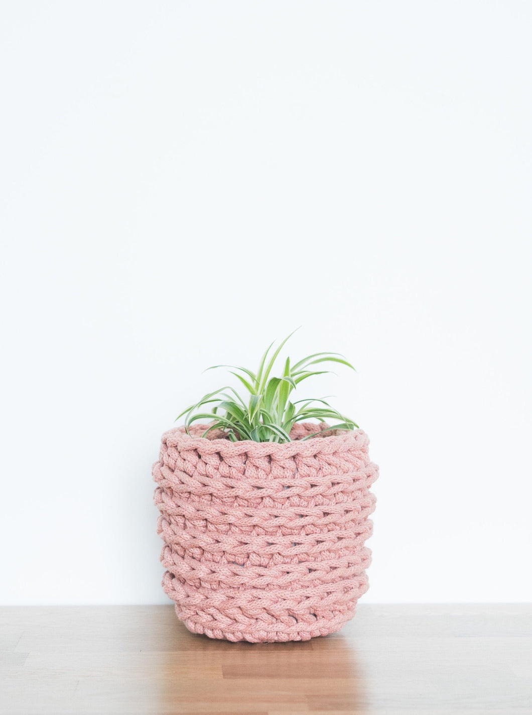 Small eco plant pot - blush - Knttd coloured handmade plant pot cover made from recycled cotton yarn with watertight inner pot made from recycled plastic