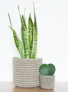 Medium eco plant pot - taupe - Knttd