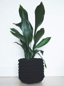 Large eco plant pot - black - Knttd coloured handmade plant pot cover made from recycled cotton yarn with watertight inner pot made from recycled plastic