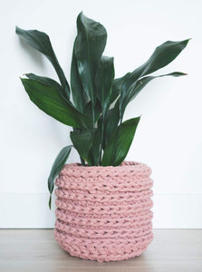 Large eco plant pot - blush - Knttd coloured handmade plant pot cover made from recycled cotton yarn with watertight inner pot made from recycled plastic
