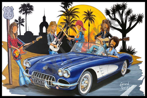 The Eagles with a Chevy Corvette by Gerard Kearney