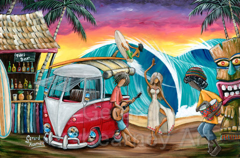 Let's Dance Print with kombi and beach surf scene