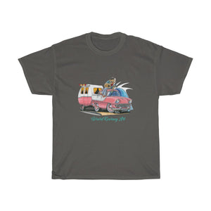 Life Is a Highway Cotton Tee featuring Holden FB and Caravan - Gerard Kearney Art Australia